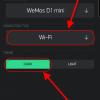 Obr. 35: Blynk app: Výběr typu připojení a volba tématu vzhledu (tmavý/světlý)