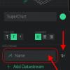 Obr. 65: Blynk app: Datový proud v SuperChart pojmenujeme a nastavíme datový zdroj