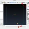Obr. 12: CAMotics – Horní pohled při spuštěné simulaci – simulaci spustíme v nástrojové liště pomocí tlačítka Play (č. 1), pomocí dolního jezdce Position (č. 2) se v simulaci můžeme pohybovat ručně