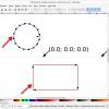 Obr. 26: Inkscape – GcodeTools, po vygenerování výsledného kódu jsou na kresbě znázorněny segmenty (představují jednotlivé řádky v G-kódu) a směry pohybu
