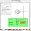 Obr. 41: Šablona s kruhovou plochou Molestocku pro editor Inkscape, nastaveny jsou typické rychlosti kreslení a průměr pera (nástroje)