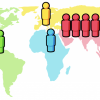 Asie (4 mld.), Afrika (1 mld.), Evropa (1 mld.)